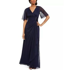 Navy Blue Flutter Sleeve Faux Wrap Gown 10 NWT